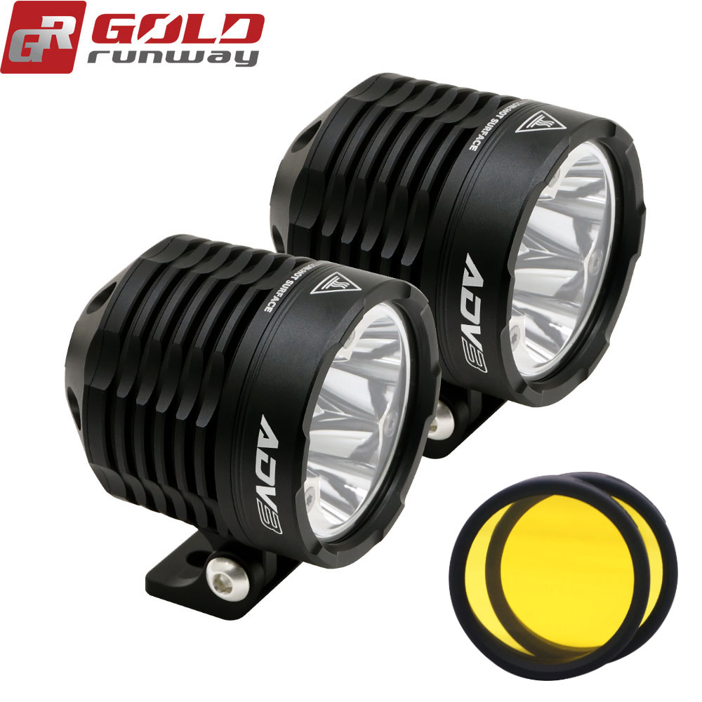 Goldrunway GR ADV3 Black CNC Aluminum 2 3INCH 30X 3000LM 6000K MC Motorcycle fog lights