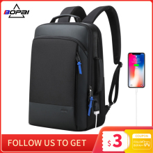 BOPAI Men Backpack Expandable Weekend Travel Back Pack Male Waterproof 15.6 Inch Laptop Backpacking Anti Theft Business