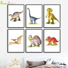 Cartoon Dinosaur Kid's Room Wall Art Canvas Painting Baby Room Decor Nordic Poster Wall Pictures For Living Room Unframed цена и фото