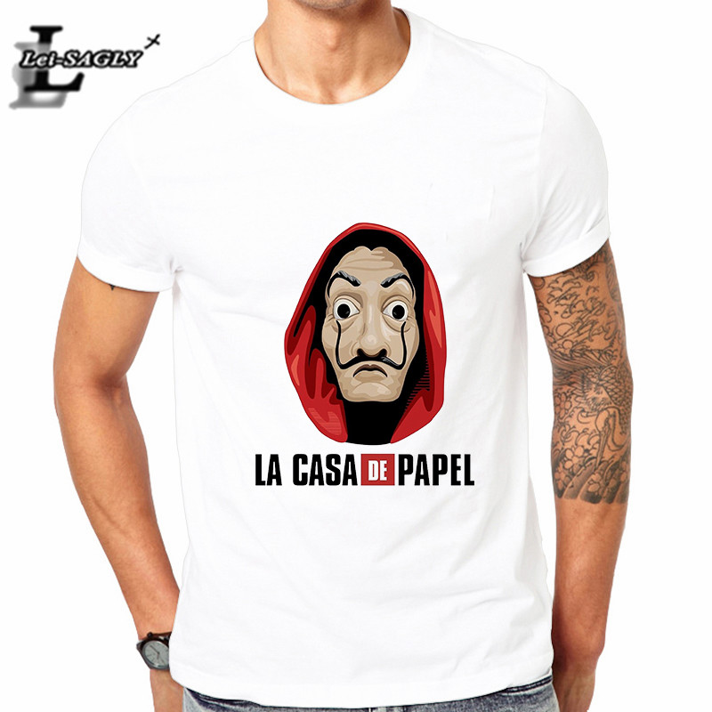 Lei-SAGLY La Casa De Papel Tshirt Money Heist Tees TV Series T Shirt Men Short Sleeve TOKIO RIO DENVER Funny T-Shirt image