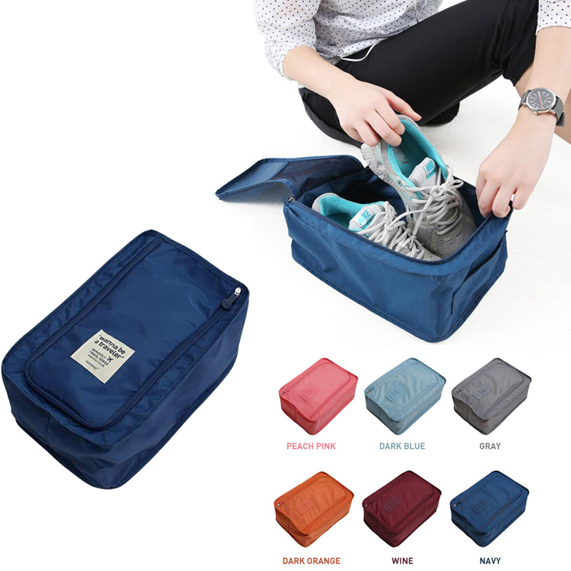 Travel Portable Waterproof Shoes Bag Organizer Storage Pouch Pocket Packing Cubes Handle Nylon Zipper Bag,Travel accessories(China)