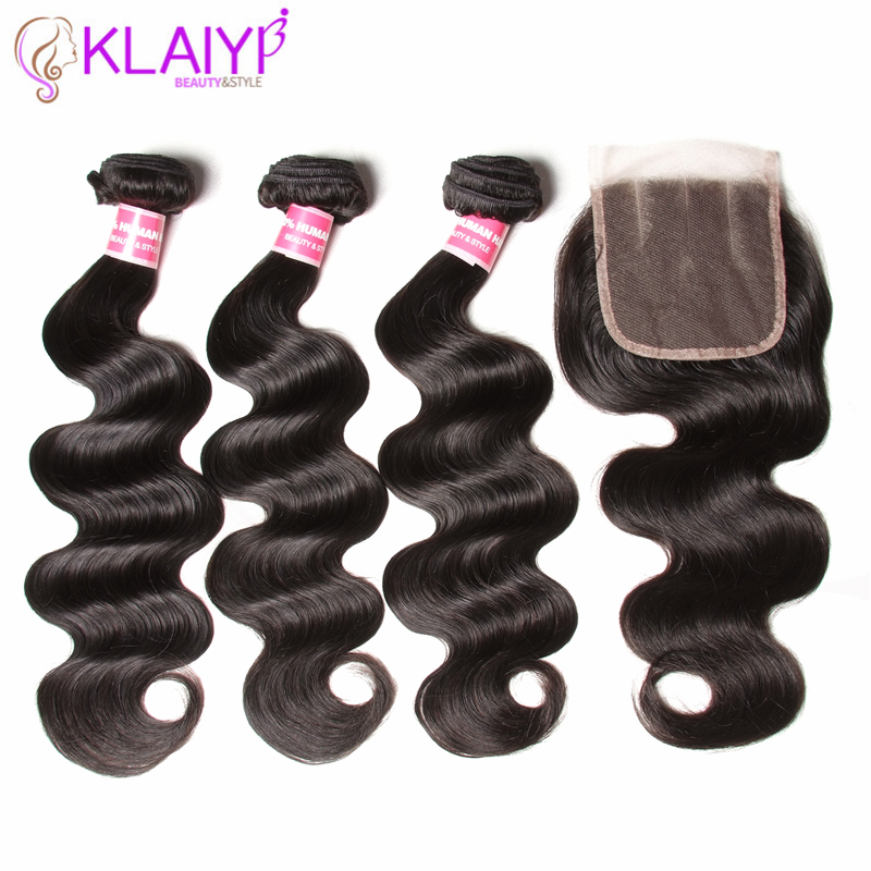 KLAIYI Hair 3 Bundles With Closure Malaysian Hair Body Wave Bundles With Closure Remy Hair Bundles With Closure Human Hair