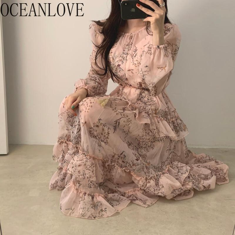 OCEANLOVE Korean Elegant Print Women Dress Floral Ruffles Banquet Ladies Party Dresses Long Spring 2020 Chiffon Vestidos 13727
