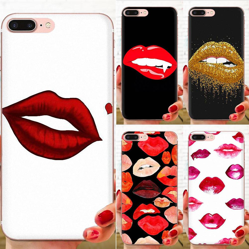 Transparent Soft Case Covers For Huawei Honor <font><b>Mate</b></font> 7 7A 8 9 10 <font><b>20</b></font> V8 V9 V10 G Lite Play Mini Pro P Smart <font><b>Sexy</b></font> Girl Red Lips image