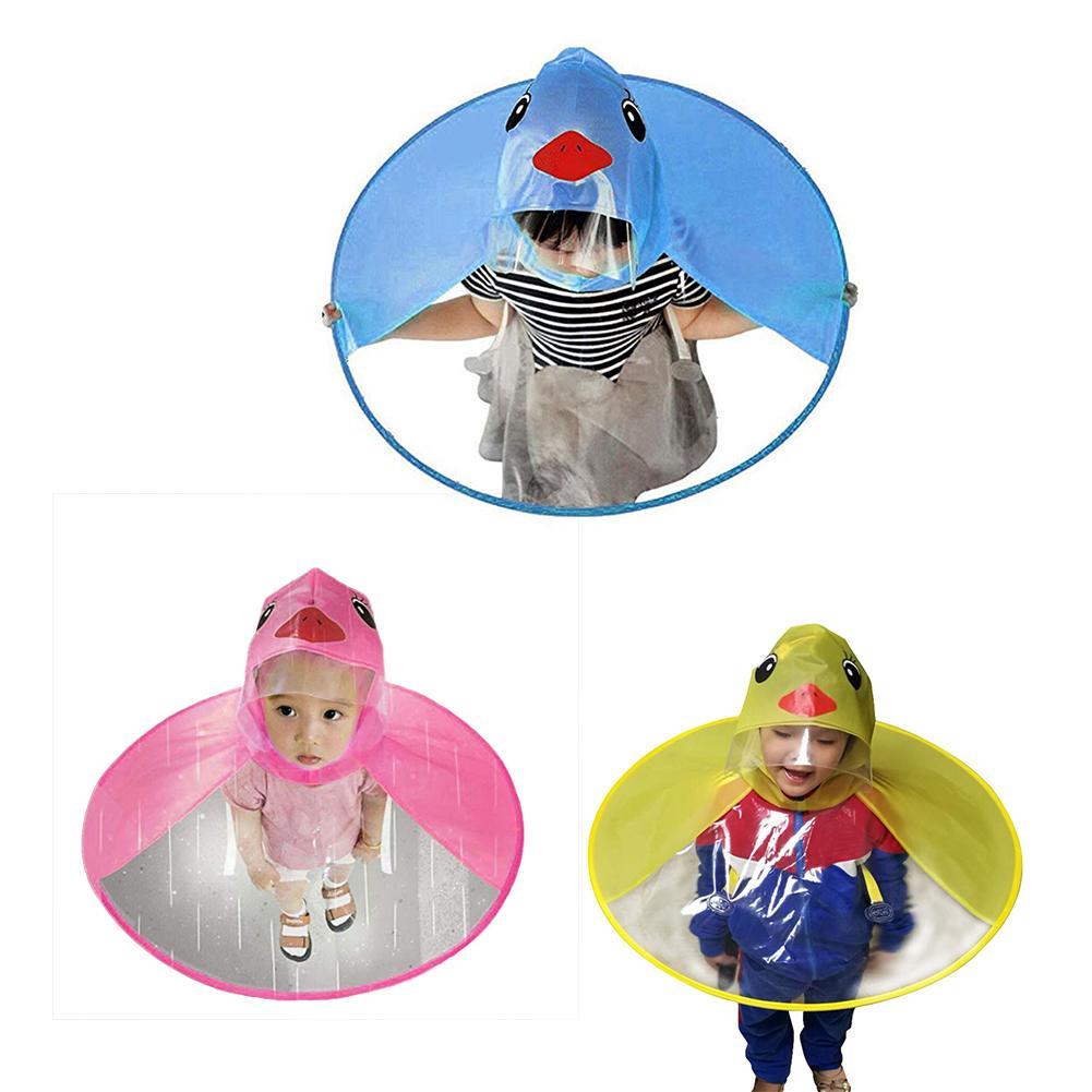 1PC Cute Cartoon Duck Children Raincoat Umbrella UFO Shape Rain Hat Cape Foldable Magical Hands Free Windproof Poncho Baby