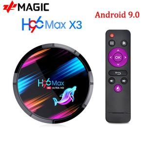 Image 1 - H96 MAX X3 Android 9,0 Смарт ТВ  бокс 4 Гб 128 ГБ Amlogic S905X3 2,4G/5G Wifi BT4.0 1000 м 8K медиа Google Play Andorid Box PK H96MAX