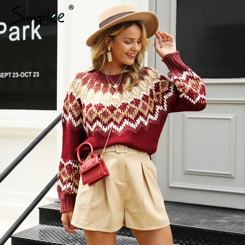 Simplee Tassel Vintage Women Pullover Christmas Sweater Oversize Long Sleeve Female Knitted Jumper Autumn Winter Ladies Overalls