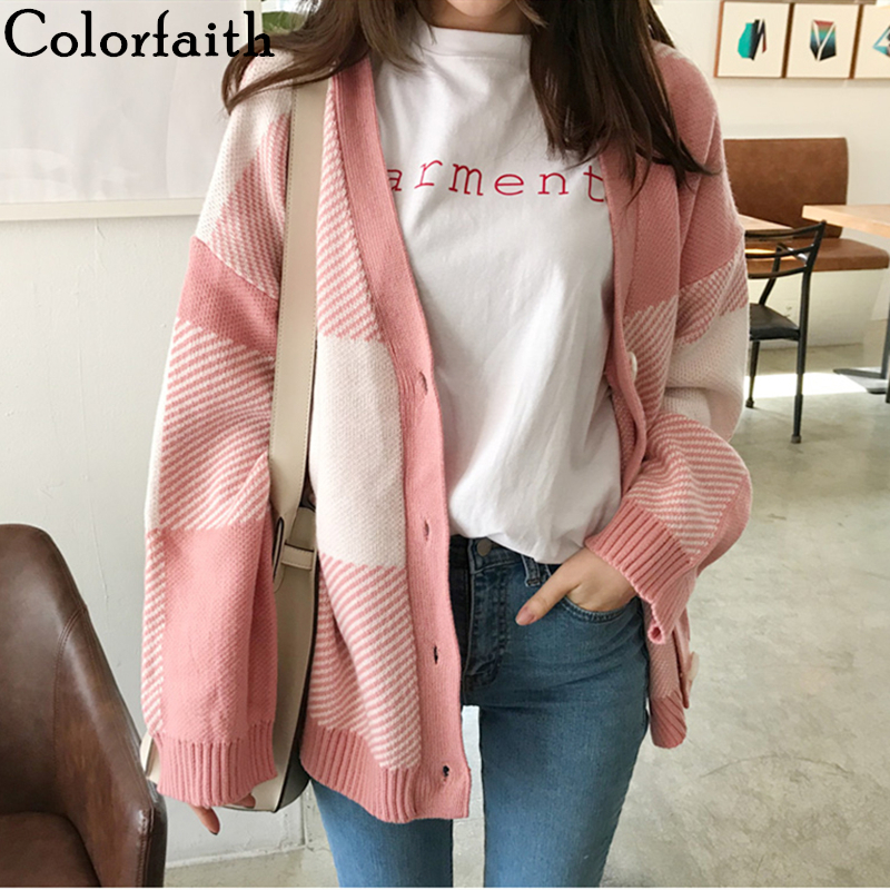 Colorfaith Women's Sweaters Autumn Winter 2019 Fashion Korean Style Casual Plaid V-Neck Cardigans Single Breasted Pink SW5051