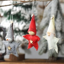 Christmas Star Shape Plush Doll Pendant Decorative Xmas Tree Hanging Ornaments Seasonal Home Party Decorations Merry
