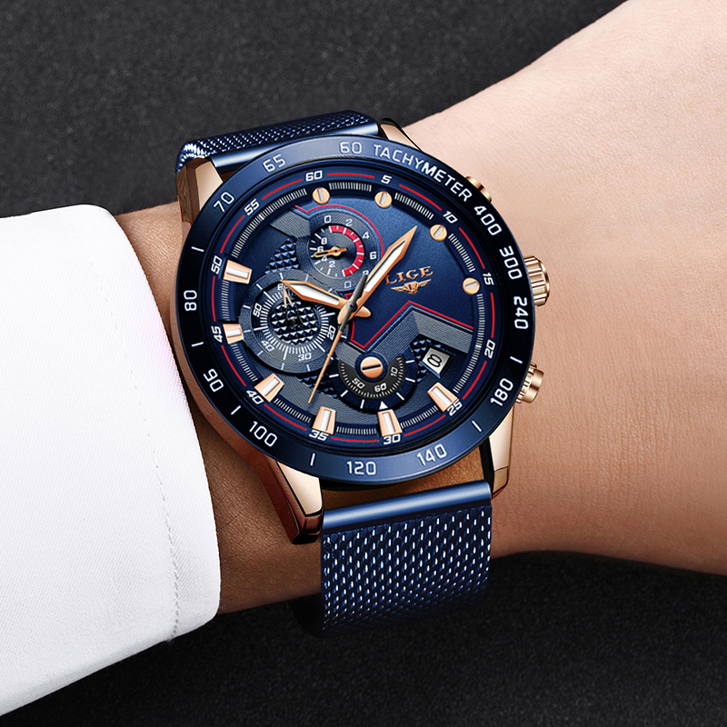Image 5 - LIGE Fashion New Mens Watches Brand Luxury WristWatch Quartz Clock Blue Watch Men Waterproof Sport Chronograph Relogio Masculino-in Quartz Watches from Watches