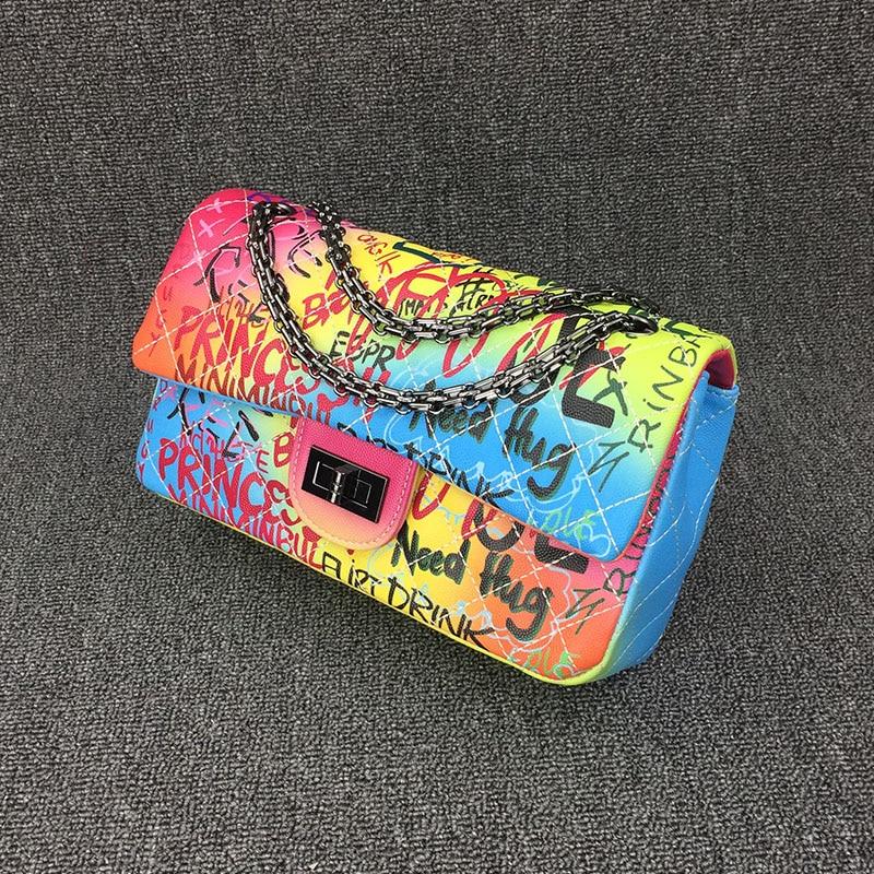 26cm Medium Sized Colorful Graffiti Rainbow Bag For Women 2019 Luxury Handbags Women Bags Designer Lady Crossbody Shoulder Bags