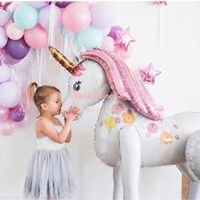 بالون حفل أحادي القرن 116 سنتيمتر ثلاثي الأبعاد بالونات كبيرة على شكل وحيد القرن مزينة برسومات وحيد القرن مستلزمات الأطفال