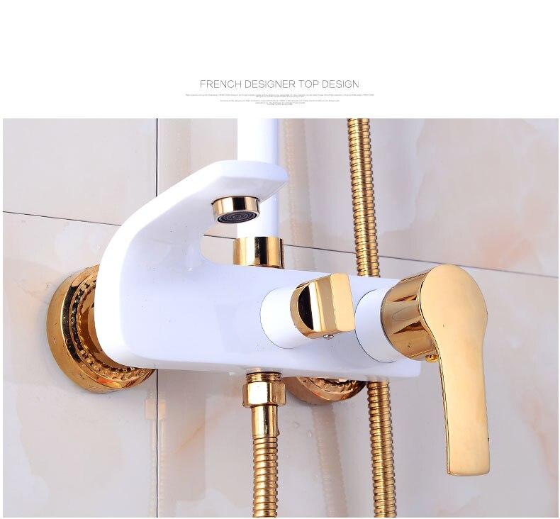 H14c1f8326c77443b95783aad0593eab2r Shower Set SDSN White Gold Bathroom Shower System Quality Copper Brass Bathtub Faucet Rainfall Shower Head Spa Bath Shower Sets