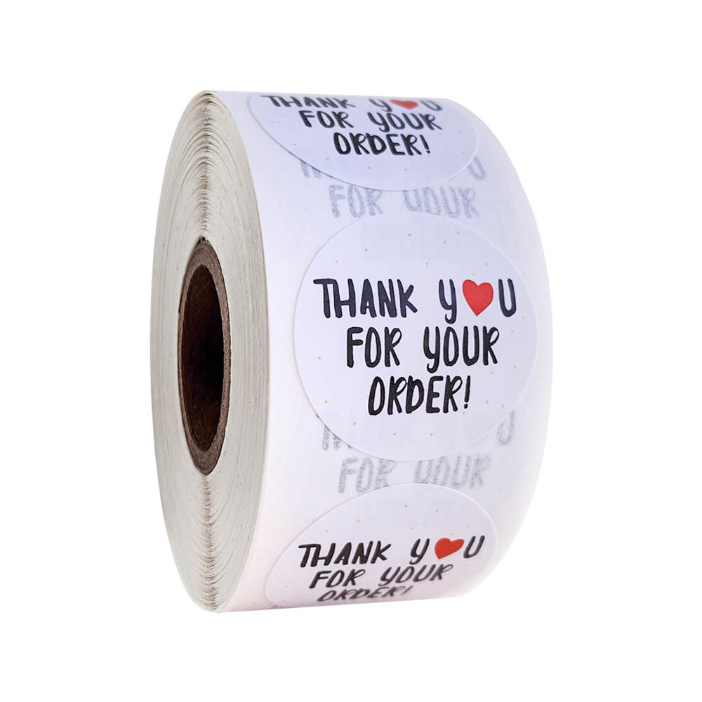 Round Thank You For Your Order Stickers 500 Pcs/roll Heart Thanks For Shopping Small Shop Local Handmade Stickers White Stickers
