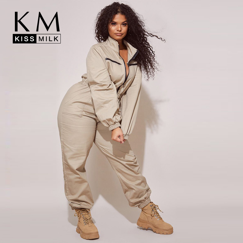 Kissmilk Women Plus Size Solid Long Sleeve Loose Elasticated Waist Casual Dailywear Formal One Piece Jumpsuit
