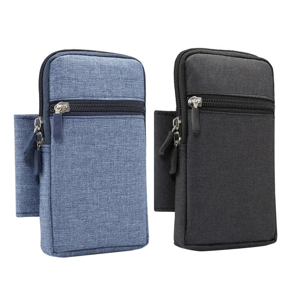 Portable Cell Phone Bag Waist Arm Pouch Unisex Bags For Outdoor Denim Case With Carabiner