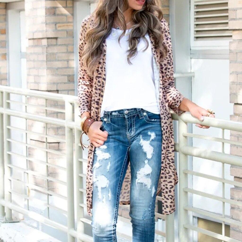 JAYCOSIN Womens coat Long Sleeves Leopard Print Serpentine Cardigan outwear spring autumn lady long basic Easy tops long jacket