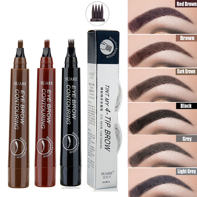 Eyebrow Pen Waterproof Fork Tip Eyebrow Tattoo Pencil Long Lasting Professional Fine Sketch Fork Tip Liquid Eye Brow Pencil(China)