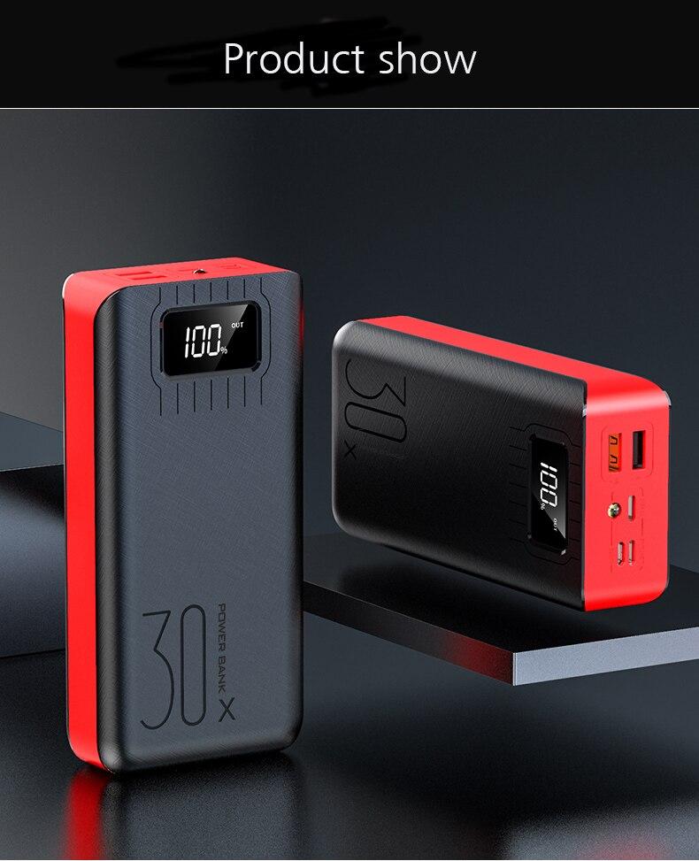 30000 мАч Внешний аккумулятор, внешний аккумулятор, 2 USB светодиодный внешний аккумулятор, type-c, портативное зарядное устройство для мобильных телефонов Apple, Xiaomi - Цвет: Red