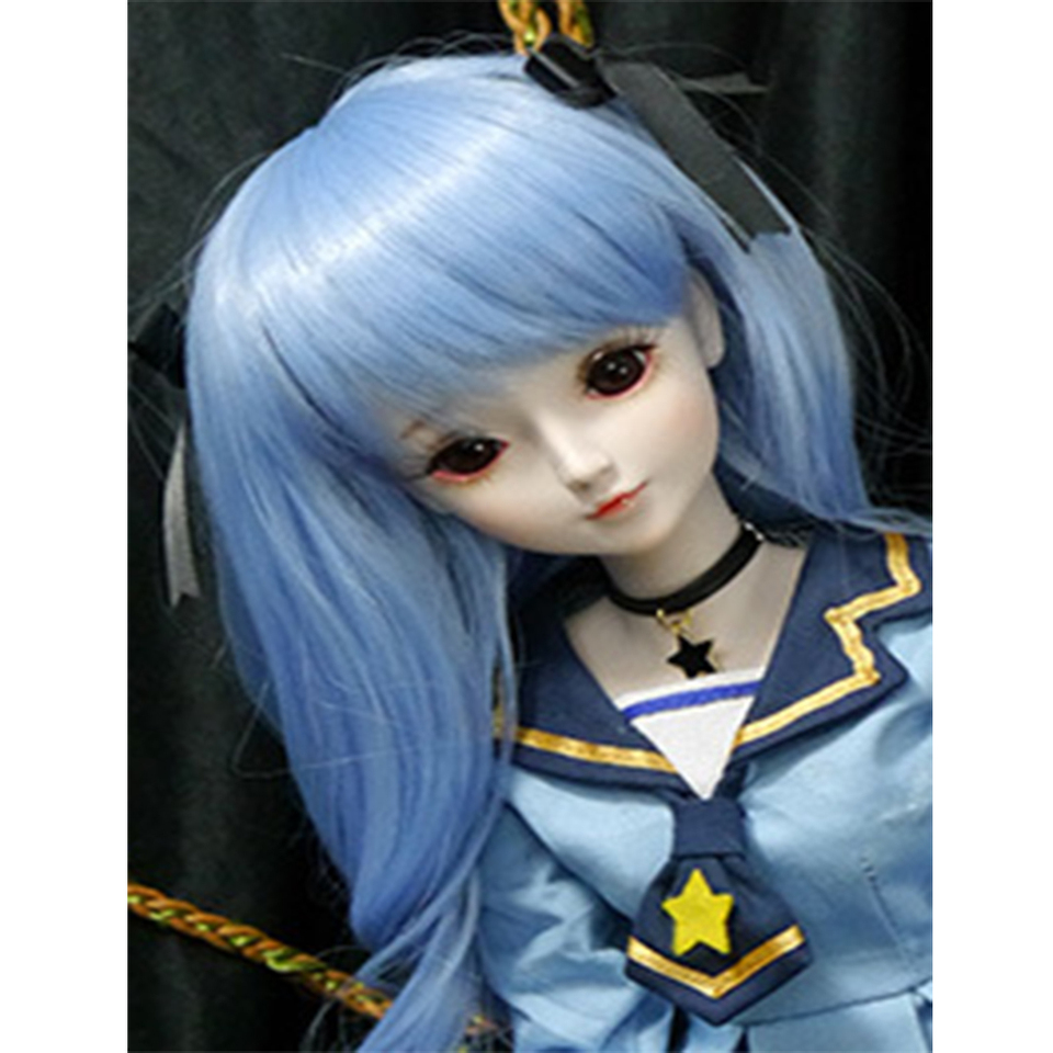 MSD DZ 1//3 BJD Dolls Elegant Long Curly Hair with Neat Bangs for Night Lolita Supper Dollfie 9-10inch Head Circumference