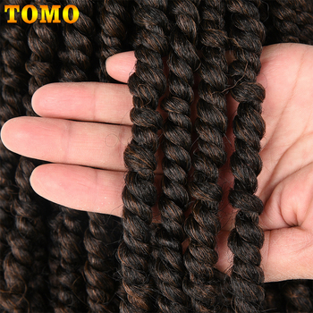 TOMO Bomb Twist Crochet Hair Synthetic 16Roots Spring Twist Pre Looped Crochet Braids Hair Extension Passion Twist for Women 6