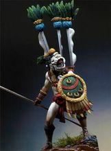1/24 75mm oude warrior met vlag 75mm (MET VOET) Resin figuur Model Miniatuur gk Unassembly Unpainted