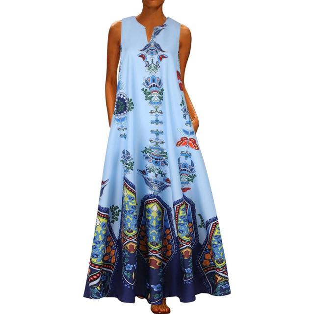 2020 Floral Print Boho Casual Long V-neck Off Shoulder  Maxi Dress  5