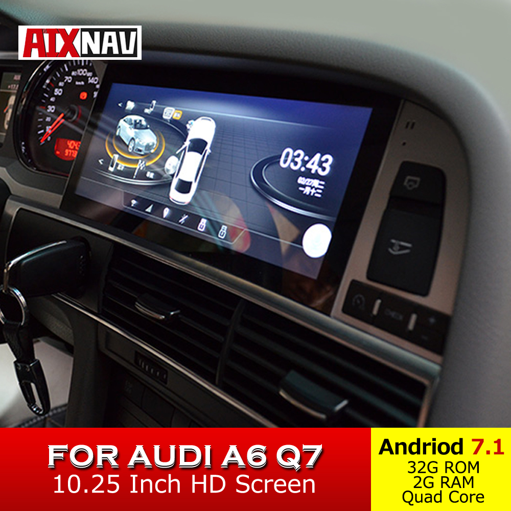 Touch Screen Car Multimedia Player For Audi A6 Q7 1 Din Radio Audio Android GPS Navigation Bluetooth Rear View Camera Display