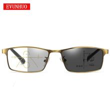 EVUNHUO progresywne wieloogniskowe okulary do czytania mężczyźni soczewki fotochromowe w pobliżu dalekiego zasięgu oprawki ze stopu okulary dioptrii tanie tanio Unisex Jasne NONE CN (pochodzenie) 5 6cm Akrylowe 3 4cm STAINLESS STEEL
