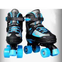 Adult Children Double Line Skates 4 Wheels Roller Skating Shoes Quad Parallel Adjustable Size Breathable Patines PU Wheels