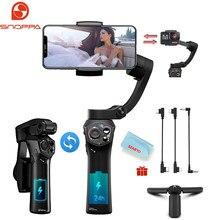 Snoppa atom 3 eixos dobrável bolso-sized handheld cardan estabilizador para huawei iphone câmera de ação smartphone, carregamento sem fio