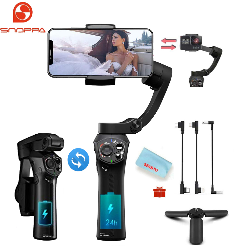 Snoppa Atom 3-Axis Foldable Pocket-Sized Handheld Gimbal Stabilizer For Smartphone GoPro,Wireless Charging,310g Payload,Pocket
