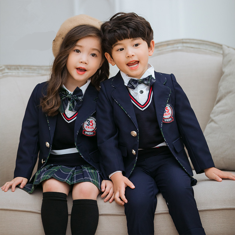 Children Childrenswear 2019 New Style British Style Children School Uniform Suit Three-piece Set Kindergarten Western Style Youn