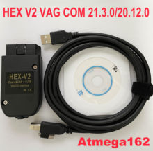 2020 popolar hex v2 obd2 scanner vagcom 20.4.2 vag com 20.12 para vw audi skoda assento atmega162 + 16v8 ft232rq