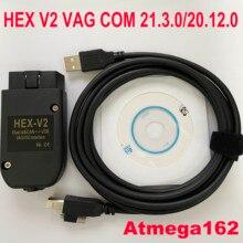 2021 Popolar HEX V2 Obd2 Scanner VAGCOM 21.3.0 VAG COM 20.12 FOR VW AUDI Skoda Seat ATMEGA162+16V8+FT232RQ