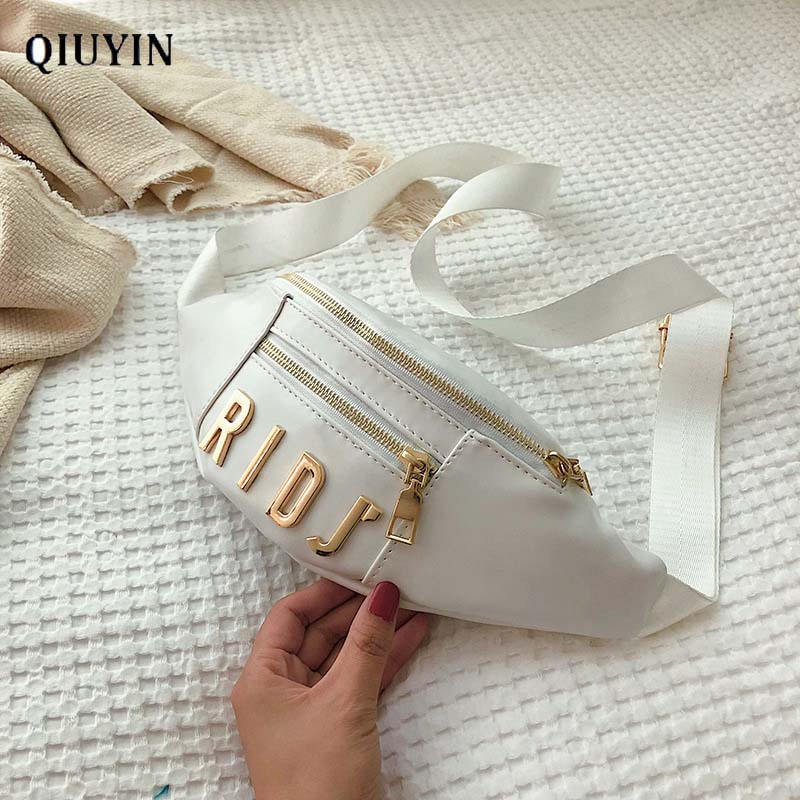 Qiuyin Luxury Korean Fanny Bag Zip Pouch Women's Waist Bag Waterproof Travel Wallet Shoulder Streetwear Waterproof Phone Letter