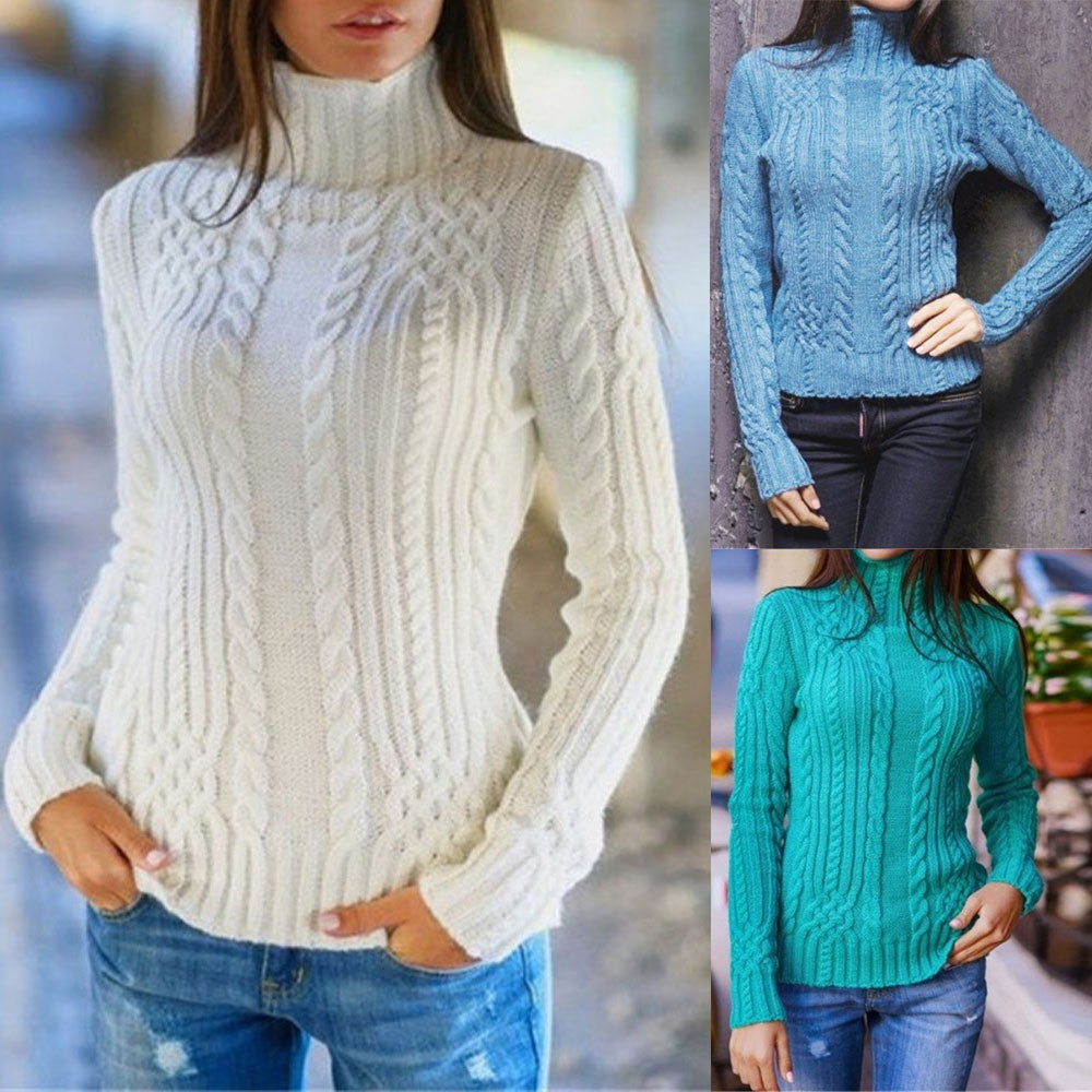 Turtleneck Sweater Women Womens Long Sleeve High Collar Pullover Sweater Knitted Jumper Tops Blouse Hiver Dames New 2020