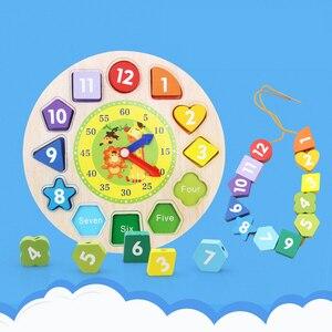 Детская головоломка для раннего обучения деревянные цифровые животные веревка бисером игра творческие часы строительные блоки цифровые г...