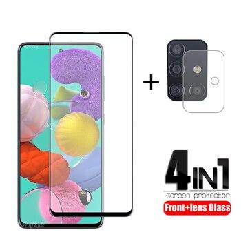 Перейти на Алиэкспресс и купить 4-в-1 для Samsung Galaxy A51 стекло для Samsung M21 закаленное стекло Полный Клей протектор экрана для Samsung M31 A51 A71 стекло объектива