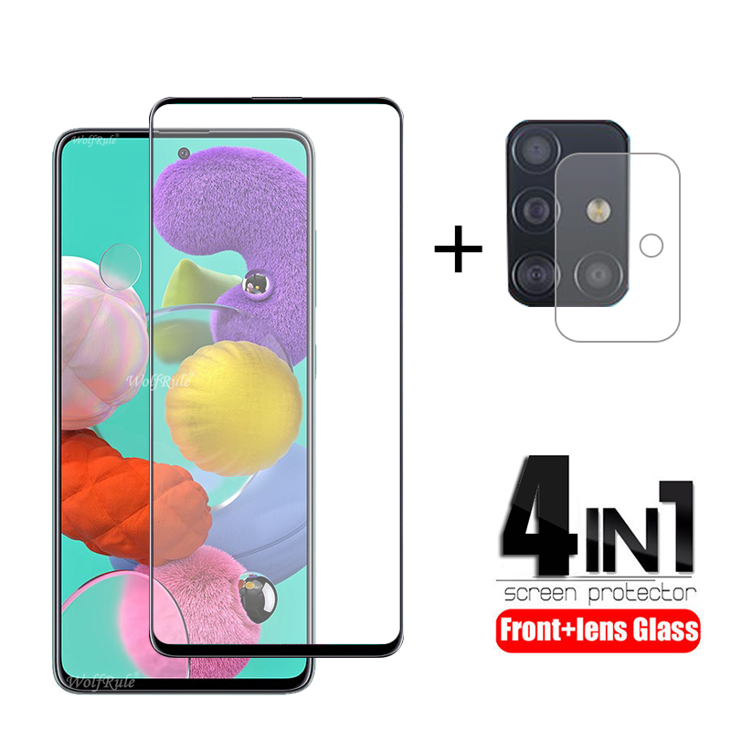 4-in-1 For Samsung Galaxy A51 Glass For Samsung M21 Tempered Glass Full Glue Screen Protector For Samsung M31 A51 A71 Lens Glass
