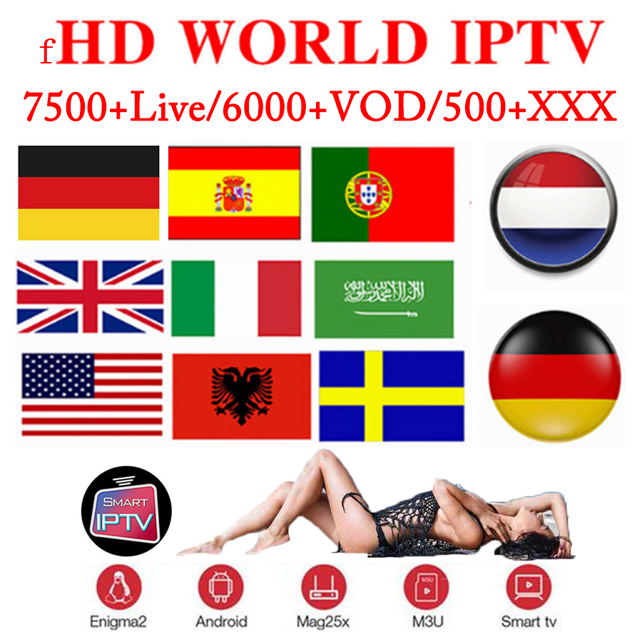 FHD World IPTV 8000 Live 6500 VOD 4K TV Box Europe Arabic Asian Africa America Smartt Android M3U Xxx Spain IPTV Subscription