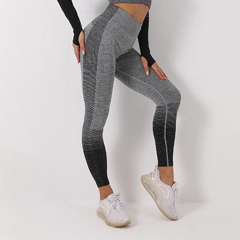 Activewear Seamless Leggins Women Fashion Striped Fitness Women Leggings High Waist Push Up Knitting Leggin Jegging Femme 4