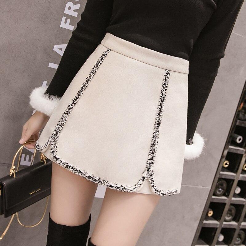 Autumn Women Hit Color Tassel Woolen Shorts Skirts High Waist Wide Leg Office Work Shorts Winter Thick Korean A-Line Lady Shorts
