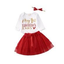 Топы с длинными рукавами на 1 день святого Валентина для новорожденных девочек 0-18 месяцев, комбинезон+ мини-юбка из тюля с бантом, вечерние комплекты одежды для малышей, комплект из 2 предметов