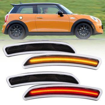 4pcs Smoke Lens Led Fender Side Marker Lights for Mini Cooper Gen3 F55 F56 F57 Amber Front/Red Rear Led Side Marker Turn Signal