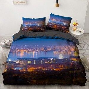 3D City Design набор пододеяльников, черное постельное льняное покрывало чехол, пододеяльник и наволочка, набор постельного белья Cityscapes King Twin Size