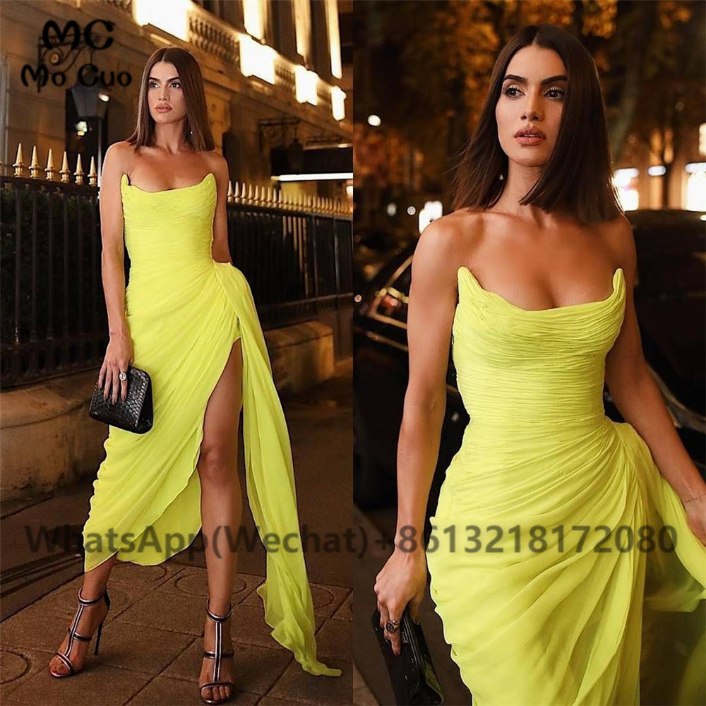 Simple Sheath Yellow Evening Dresses Long Prom Gowns Side Slit Pleat Chiffon Women Evening Dresses 1