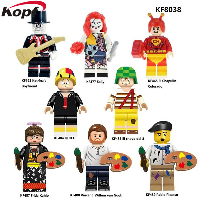 KOPF Super Heroes Figures Sally Vincent Willem Gogh Chavo Del 8 Pablo Picasso Building Blocks Bricks Children Gift Toys KF8038