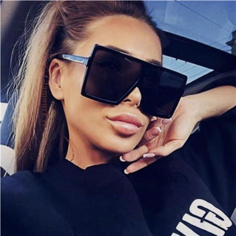 WUE 2019 NEW Fashion Sunglasses Women Square Luxury Brand Big Black Sun Glasses Female Mirror Shades Ladies Lunette Femme Oculos