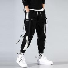 貨物パンツジョギング男性黒ハーレムパンツマルチポケットリボンマンスウェットストリートカジュアルパンツ弾性ウエスト男性ズボン